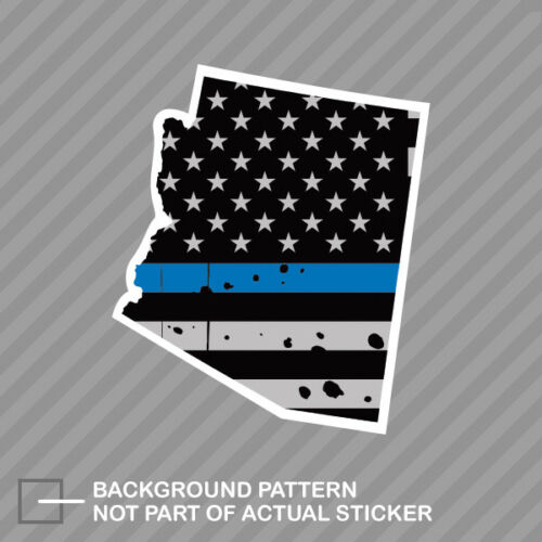 Distressed Thin Blue Line Arizona State Shaped Subdued US Flag Sticker police AZ