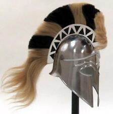 GREEK Corinthian Athenian Hoplite WARRIOR HELMET ARMOR Black White PLUME CREST