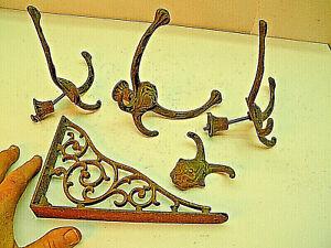 Vintage-Antique-Ornate-Coat-Hangers-Shelf-Bracket-Cast-Iron