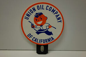 """License Plate Topper UNION OIL of California 5"""" by 4"""" in diameter"""