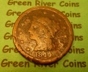 1844  U S Braided Hair Large  Cent   #44S        (1839-1857) low grade