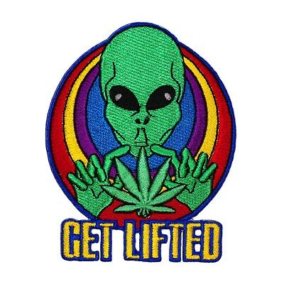 """Spaced Alien """"Get Lifted"""" Patch Psychedelic Pot Leaf Marijuana Iron-On Applique"""
