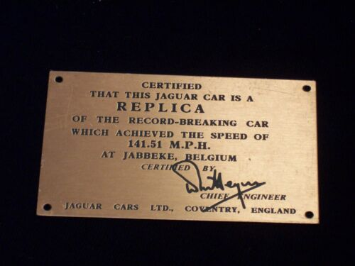Jaguar Roadster Speed Plaque for Dash 1 141.51 M.P.H. new reproduction