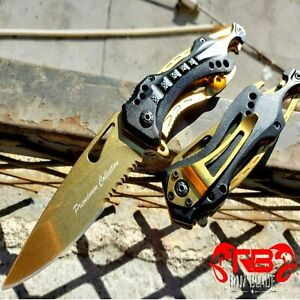 """8"""" NEW Military Tactical Spring Assisted Open Rescue Folding Pocket Knife Gold"""