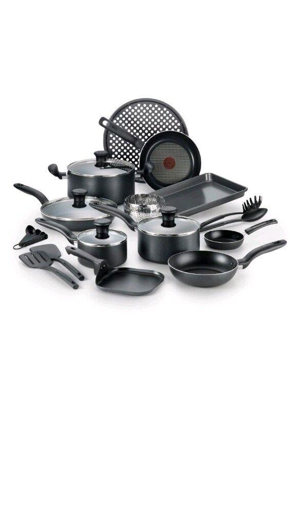 T-fal 20Pc Antiadherente Cocinar Set 20Pcs Cocina Utensilios de cocina Sartenes, Ollas, Porcionador de carbón