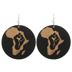 Details About 1 Pair Good Quality Wood Earrings African Woman Wooden Pendant 6cm 2 36 E251