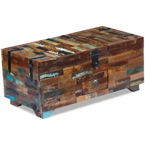 Image is loading vidaXL-Solid-Reclaimed-Wood-Storage-Chest-Box-Coffee-  sc 1 st  eBay & vidaXL Solid Reclaimed Wood Storage Chest Box Coffee Side Couch ...
