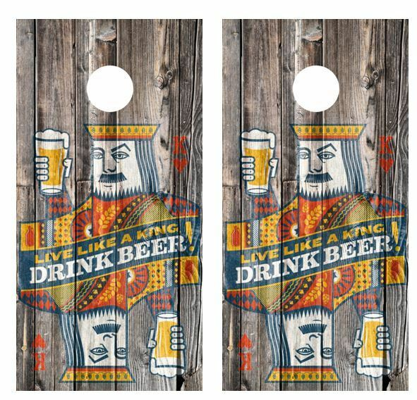 Live Like A King Drink Beer Barnwood Cornhole Board Wraps FREE LAMINATION