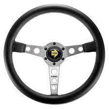 MOMO Prototipo Steering Wheel - Leather - Silver Spokes - 350mm