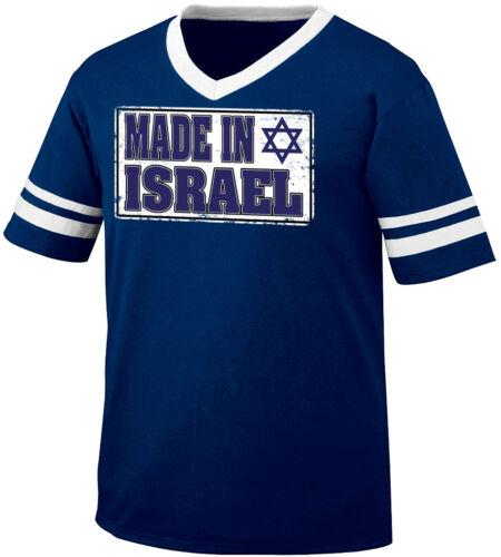 Made In Israel Flag Colors Israeli Pride Country Born IL Men/'s V-Neck Ringer Tee