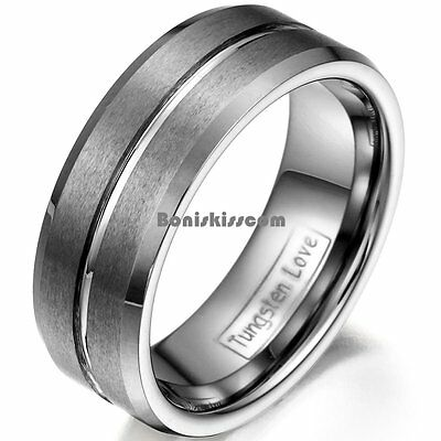 8mm Matte Finished Tungsten Carbide Ring Polish Grooved Center Mens Wedding Band