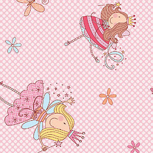 COTTON-100-BEDDING-BABY-CHILDREN-FABRIC-CUTE-ANGEL-TULIP-TINKERBELL-PINK-44-039-W