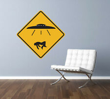 """UFO Alien Abduction Traffic Sign Repositionable Wall Decal 12""""x12"""" Home Decor"""