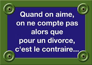 Plaque Rue Citation Du Jour Divorce Amour Mariage 20x30 Ebay