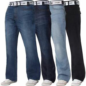 Kruze-Denim-Nuevo-Para-Hombre-Bootcut-Pierna-Ancha-Flare-Pantalones-Cintura-Tallas-Grandes-Rey-todos