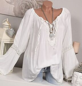 italy bluse tunika vintage h kel spitze oversize wei hippie shirt 38 40 42. Black Bedroom Furniture Sets. Home Design Ideas