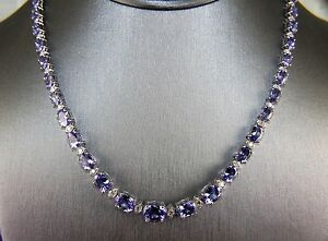 Fine oval tanzanite diamond link tennis necklace 14k white gold image is loading fine oval tanzanite amp diamond link tennis necklace aloadofball Gallery