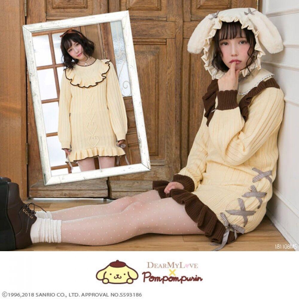 YUMETENBO Pom Pom Purin Knit Dress Sanrio M L LL