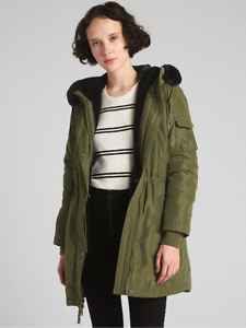 Gap ColdControl Faux-Fur Parka, S Small Tall Army Green