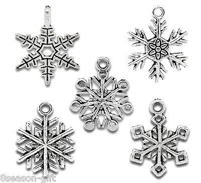 50 Gift Mixed Silver Tone Christmas Snowflake Charm Pendants