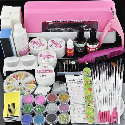 UV Gel Nail Art Curing Dryer Lamp Light Set & Electric File Drill 161
