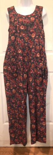 Laura Ashley UK Charcoal Grey Floral Cotton Jumpsu