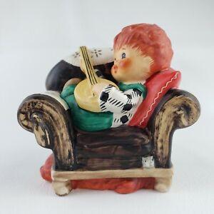 "Goebel Redhead Figurine Charlot BYJ  ""Off Key""  Boy on Sofa Banjo Dog 1958"
