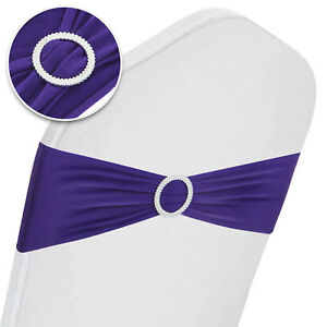 100PCS Spandex Stretch Chair Cover Sashes Band Decoration Polyester W/ Buckle