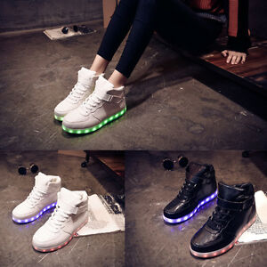 Women-Men-LED-Light-Up-Trainer-Lace-Up-High-Top-Luminous-Casual-Shoes-Sneakers