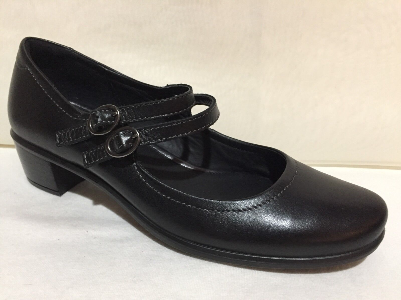 ECCO BLACK LEATHER DOUBLE STRAP MARY JANES HEEL LOAFERS SHOES WOMENS 37 6 - 6.5