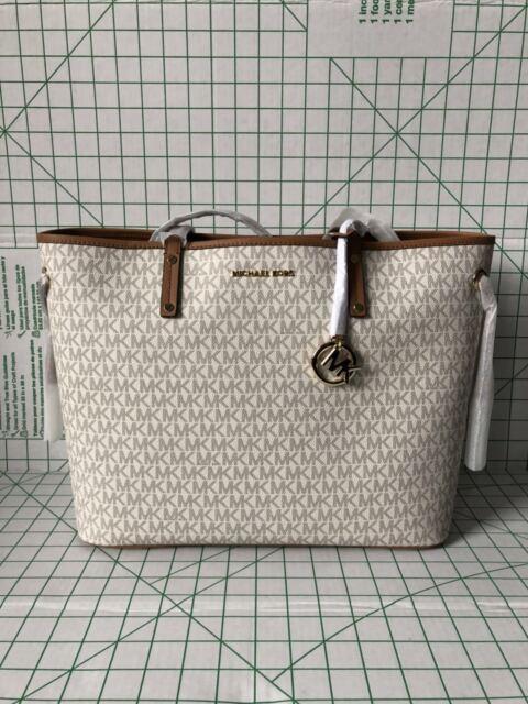 4048a58c8dc9 NWT Michael Kors Jet Set Travel Large Drawstring Tote Vanilla Signature Bag