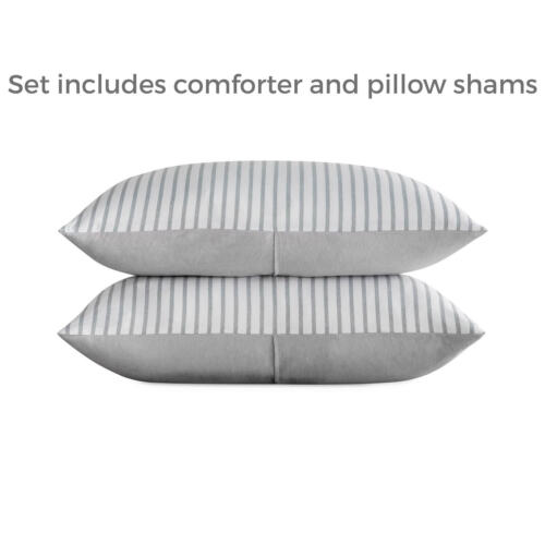 BROOKSIDE Reversible Striped Chambray Comforter Bed Set with 2 Pillow Shams
