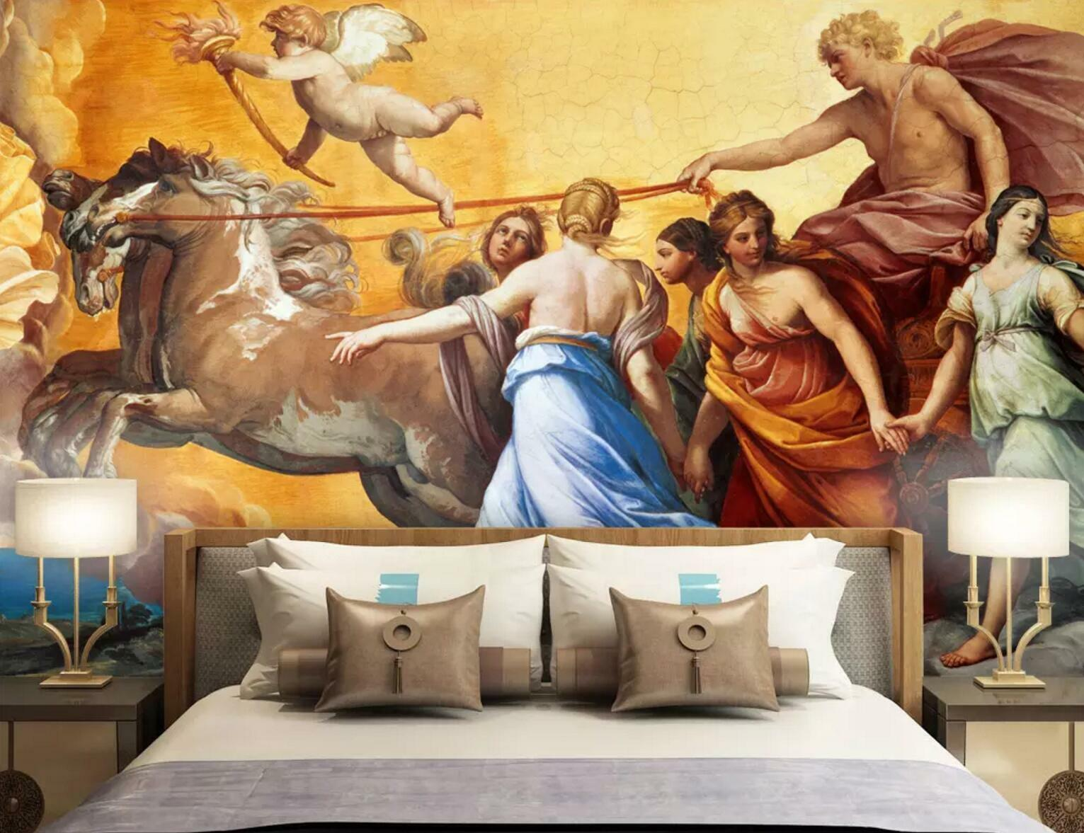 3D Horse Angel Lady 11 Wallpaper Mural Print Wall Indoor Wallpaper Murals UK