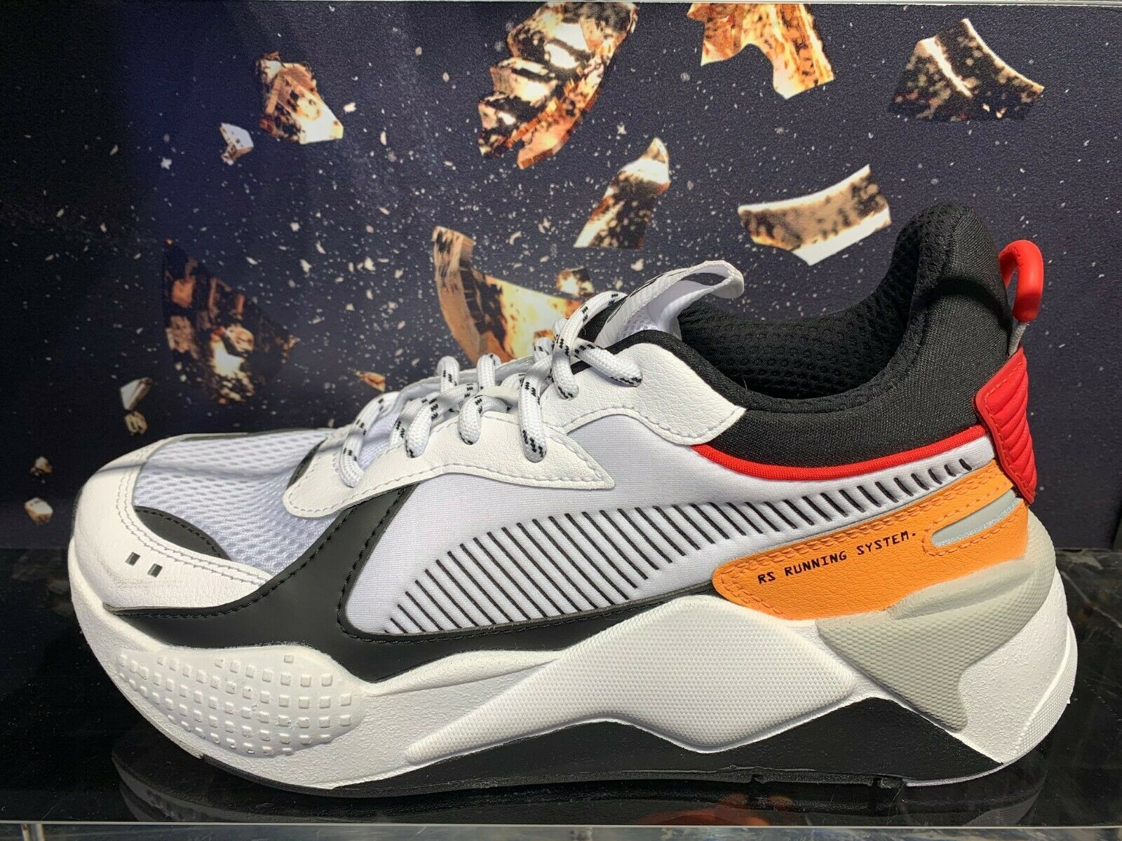 Puma RS-X Toys Reinvention Running System White Black Red Sz 4Y-13 369579-02