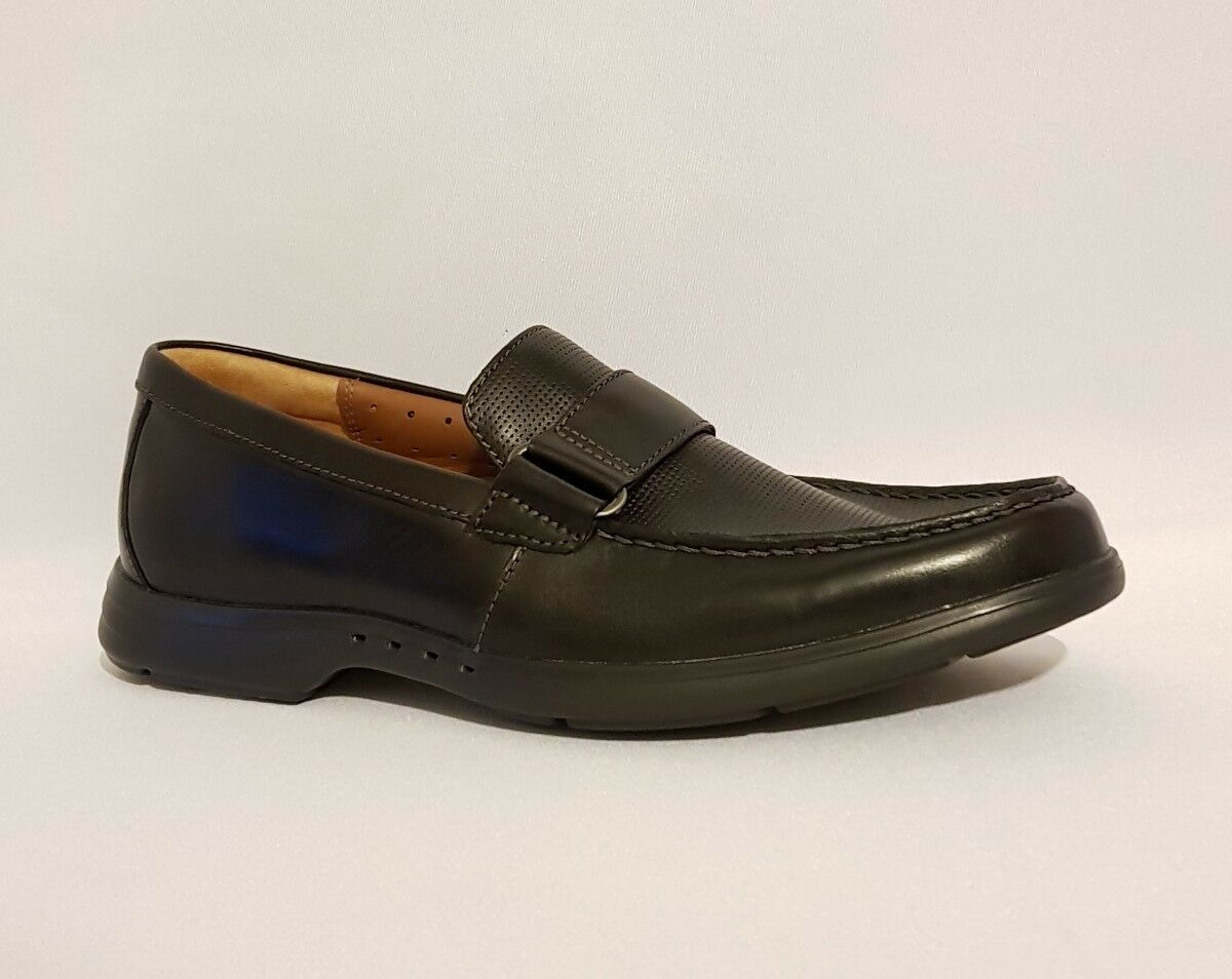 CLARKS UNEASLEY FREE BLACK GENUINE LEATHER Herren LOAFERS SLIP ONS  Herren LEATHER FORMAL Schuhe 10 316386