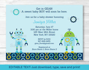 photograph relating to Robot Printable named Information in excess of Youngster Bots Boy Robotic Printable Boy or girl Shower Invitation Editable PDF