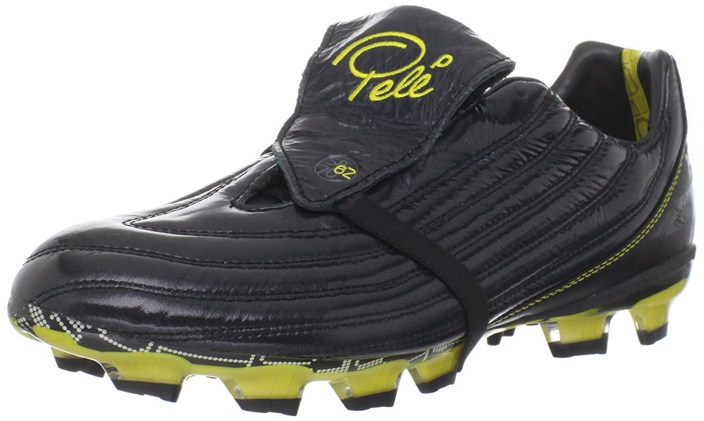 Pele Sports 1962 FG MS NEGRO AMARILLO Soccer Fútbol Zapatos 41,5 43 45 47 11WM