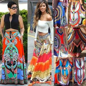 88dfe69f28ce Image is loading African-Skirt-Dashiki-Print-Women-Boho-Long-Traditional-