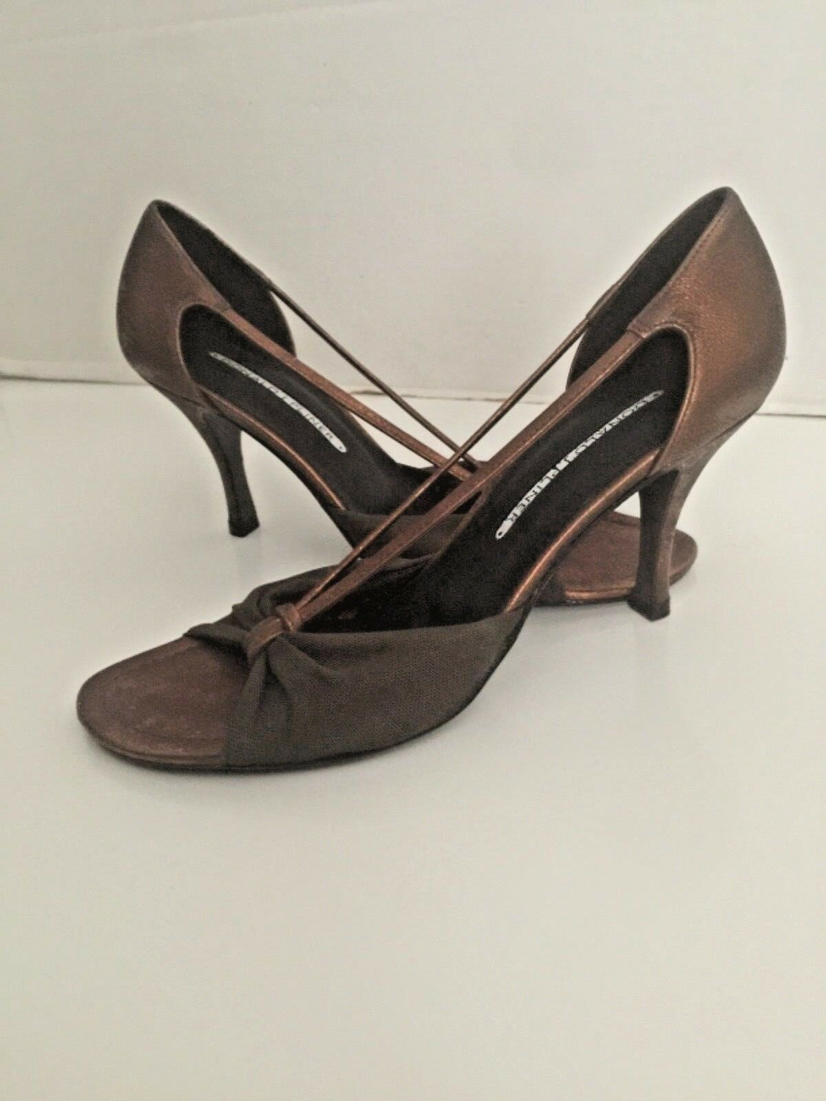 Donald Pliner  JJ Bronze Antique Metallic Leather Elastic Fabric Strappy scarpe 8  grande sconto
