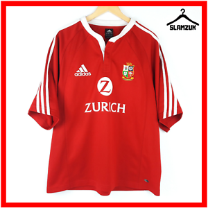 British-Lions-Adidas-Rugby-Shirt-L-Large-2005-Red-ClimaCool-Jersey-Top
