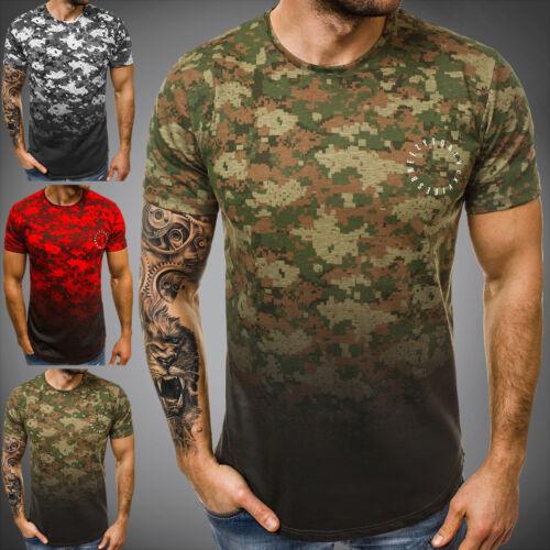 OZONEE Herren T-Shirt Kurzarm Shirt Aufdruck Slim Fit Fitness Mit Motiv B//181390