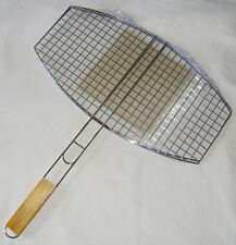 NEW BBQ BARBECUE MEAT BURGER FISH LONG HANDLE 45 x 25cm GRILL LARGE OVAL BASKET