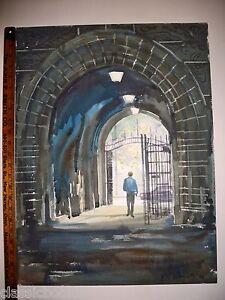 Robert-E-Kennedy-Original-Yale-University-Gate-Watercolor-1990