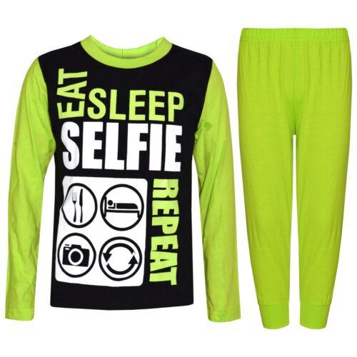 Enfants Filles Garçons Lime Eat Sleep Selfie répéter pyjama Lounge Wear Pjs 2-13 Ans