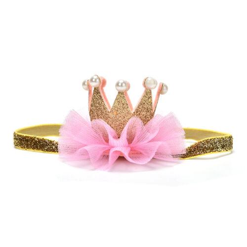 Baby Kleinkind glänzende Krone Stirnband Prinzessin Haarspange Spitze Haarband^