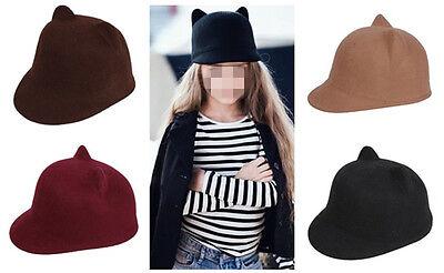 Kids Children Girls Bowler Hats Derby Caps Wool Bucket Cloche Sunhat Sunbonnet