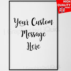 1439599d50003 Details about Custom Quote Personalised Typography Poster White & Black  Wall Art Print