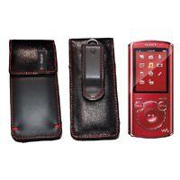 Sony Walkman Mp3 Player Nwz-e380 Series Leather Red Swivel Belt Pouch Case