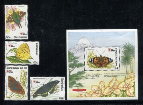 Barbados 807-811, MNH, 1991 Insects Butterflies. x23988