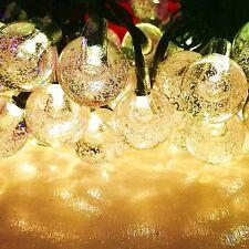 60LED 36FT Warm White Crystal Ball Solar String lights for Garden, Patio, Yard,